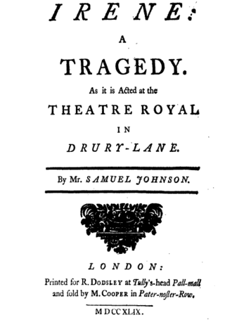 Irene (play) - Title page of Irene, first edition 1749