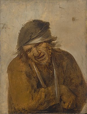 Joos van Craesbeeck - A Peasant Grimacing with his Arm in a Sling, oil on panel, 14.6 × 10.9 cm (5.7 × 4.3 in)