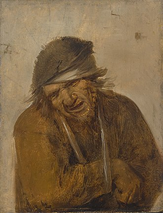 Joos van Craesbeeck - A Peasant Grimacing with his Arm in a Sling, oil on panel, 14.6 × 10.9 cm (5.7 × 4.3 in)