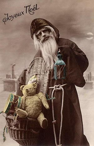 Les cadeaux de Noël - Père Noël depicted on a 1910 French postcard