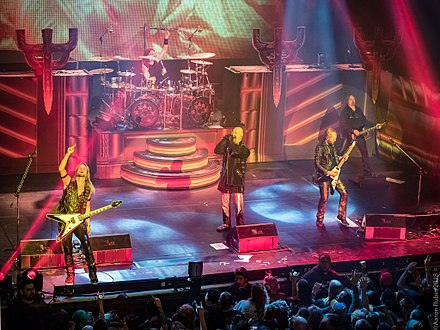 Judas Priest at The Warfield Theater in San Francisco on the Firepower tour, 19 April 2018. Photo: Aaron Rubin Judas Priest at The Warfield Theater in San Francisco.jpg