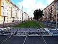Jugoslávských partyzánů tramvajová trať po rekonstrukci, od bývalé smyčky k centru.jpg