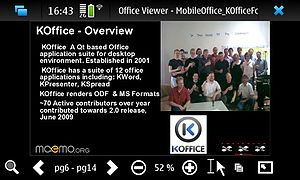 KOffice - The viewer for smartphones was dropped from KOffice