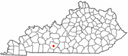 Location of Bowling Green within Warren County in کینٹکی.