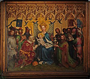 Cologne School of Painting - Stephan Lochner: Altar of the Cologne City Patrons (middle panel), c. 1450