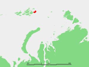 Graham Bell Island - Location of Graham Bell Island in the Franz Josef Archipelago
