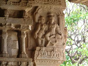 Sculptures at Hampi embodying human expression...