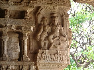 South Indian culture - Sculptures at Hampi embodying human expression, Karnataka.