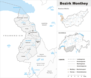 Monthey District - Image: Karte Bezirk Monthey 2007