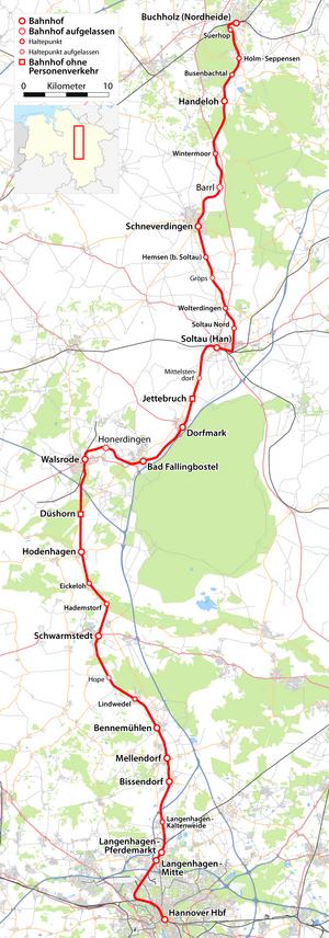 Heath Railway - Image: Karte der Bahnstrecke Buchholz Hannover