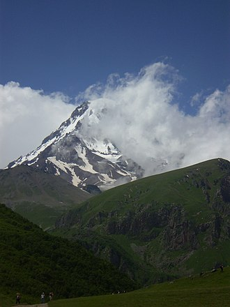 Mount Kazbek - Mount Kazbek from the outside of the Gergeti Trinity Church