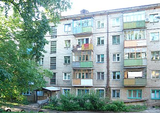 Khrushchyovka - Typical Khrushchyovka yard in Kazan.