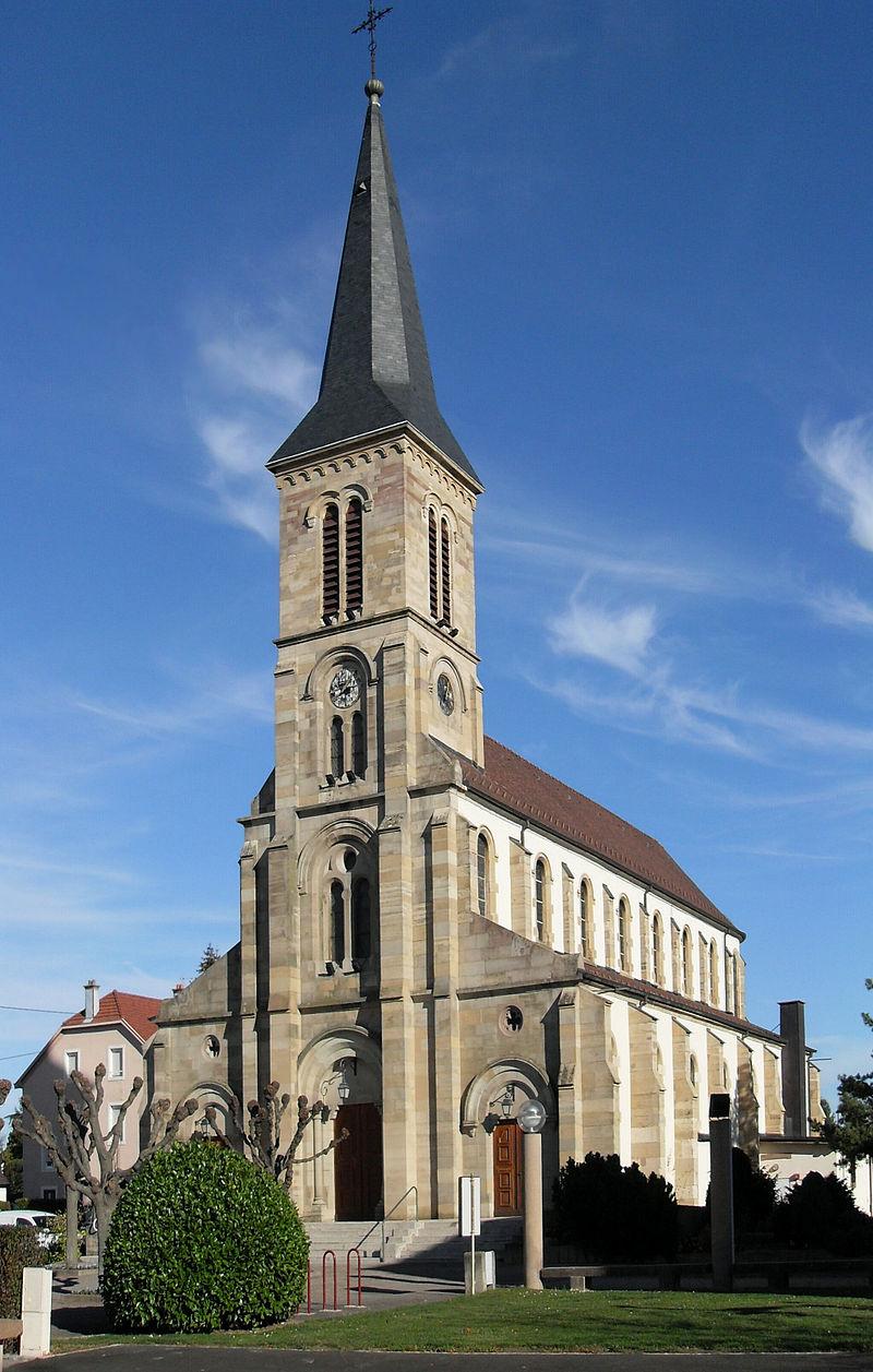 Par ordre alphabétique, des villes et des villages . - Page 4 800px-Kingersheim%2C_Eglise_Saint-Adelphe