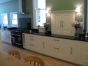 Galley (kitchen) - Example of a galley (kitchen) that has been hand fitted by a carpenter