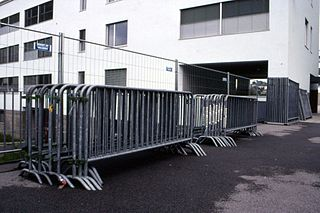 Crowd control barrier Barricade commonly used at public events
