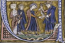 A bearded man wearing a crown gives a falcon to a younger man who is accompanied by a woman and a man.