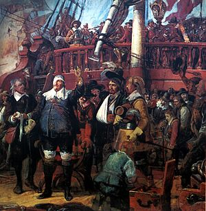 Battle of Wolgast - Christian IV of Denmark with his navy. The painting by Vilhelm Marstrand depicts him at the Battle of Colberger Heide, 1644.