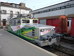 Crocodile (locomotive) - Bo-Bo YSteC Ge 4/4 steeplecab in Yverdon-les-Bains, Switzerland