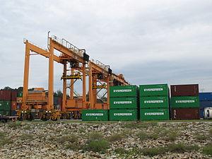 Rubber tyred gantry crane - Kuantan Port container yard with rubber-tyred gantry crane.