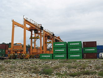 Rubber tyred gantry crane - Kuantan Port container yard with rubber-tyred gantry crane.
