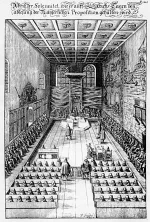 Imperial Diet (Holy Roman Empire) - Seating plan for an inauguration of the Imperial Diet in the Regensburg Town Hall from a 1675 engraving: Emperor and Prince-electors at the head, secular Princes to the left, ecclesiastical to the right, deputies of Imperial Cities in the foreground.