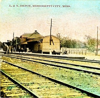 Mississippi City, Mississippi - Louisville and Nashville Railroad Depot, circa 1910.