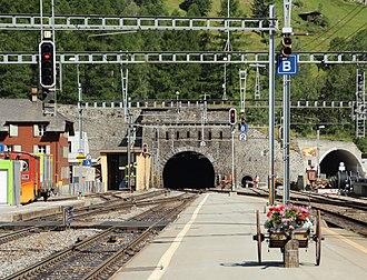 Lötschberg railway line - Lötschberg Tunnel from Goppenstein (culminating point)