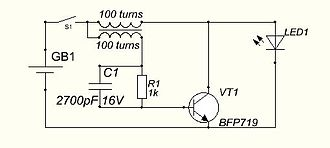 Blocking oscillator - Blocking oscillator used for growing time of light of the LED. (Brightness of a luminescence decreased.)