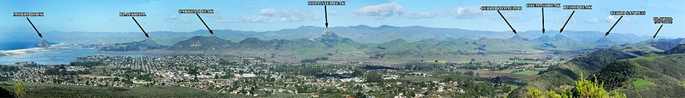 Labeled Panorama of the 9 Sisters in San Luis Obispo, California.jpg