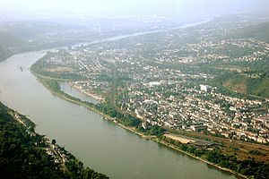 Lahnstein - Aerial photograph of Lahnstein and the Rhine Valley