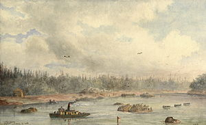 William Armstrong (Canadian artist) - The Red River Expedition, Purgatory Landing (1870) watercolour