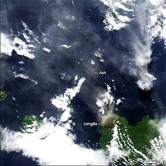 Langila - NASA satellite image of ash from Langila