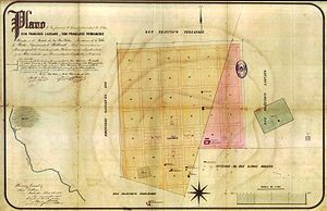Lascano - 1875 map showing the estates on which Lascano was founded.