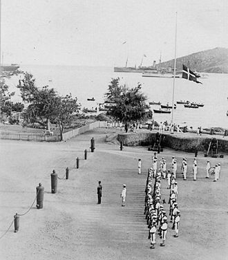 Saint Croix, U.S. Virgin Islands - Dannebrog being lowered at the Governor's Mansion for the last time (31 March 1917)