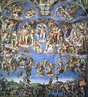 <i>The Last Judgment</i> (Michelangelo) fresco by Michelo