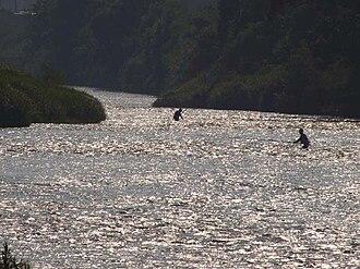Sarugaishi River - Late afternoon fishermen on the Sarugaishi in Miyamori