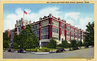 Lewis and Clark High School - Image: Lc Postcard
