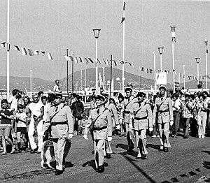 Le brigade de gendarmerie de Saint-Tropez, à l'époque du film Le Gendarme et les Extra-terrestres (1979).