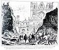 Le Lyon de nos pères, Vingtrinier et Drevet, 1901, page 031, dessin de Joannès Drevet, le Baron des Adrets faisant ouvrir la Brèche dans la muraille du cloître de Saint-Jean en 1562.jpg