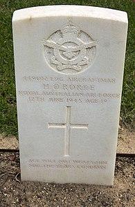 Leading Aircraftman H O'Rorke gravestone in the Wagga Wagga War Cemetery.jpg
