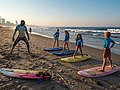 Learning to surf with Ocean Adventures, Durban beach front. KwaZulu Natal, South Africa (20326314899).jpg