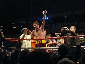Andy Lee (boxer) - Lee celebrating a win in Limerick, 2008