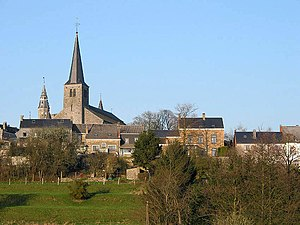 Leignon (Belgium), the neighborhood of the chu...