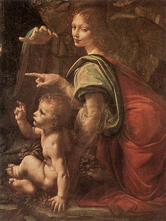 Virgin of the Rocks - Detail of Christ Child and angel, Louvre