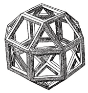 The rhombicuboctahedron, by Leonardo, as it appeared in the Luca Pacioli's Divina Proportione, 1509.