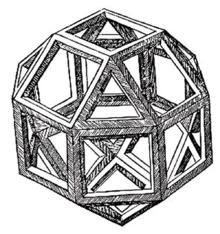 Leonardos Darstellung eines Rhombenkuboktaeders aus Luca Paciolis Divina Proportione (Quelle: Wikimedia)