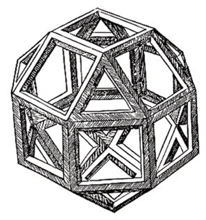 Polyhedron - A skeletal polyhedron (specifically, a rhombicuboctahedron) drawn by Leonardo da Vinci to illustrate a book by Luca Pacioli