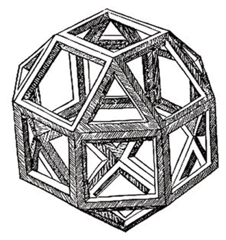 Luca Pacioli - The first printed illustration of a rhombicuboctahedron, by Leonardo da Vinci, published in De divina proportione, 1509