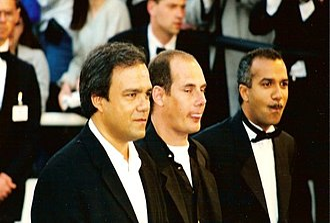 Les Inconnus - Didier Bourdon, Bernard Campan and Pascal Légitimus at the 1996 Cannes Film Festival.