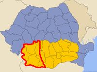 Harta Rom�niei cu �ncadrarea Olteniei �n ?ara Rom�neasc? ?i �n jude?ele actuale